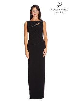 Adrianna Papell Black Matte Jersey Dress