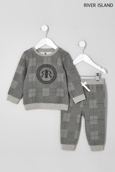 River Island Grey Checked Crew Sweat Set