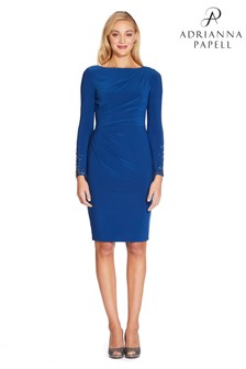Adrianna Papell Blue Jersey Short Dress