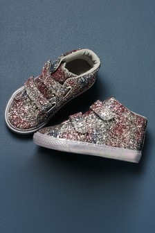 Glitter Touch Fastening High Top Trainers (Younger)