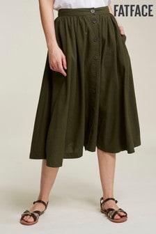 FatFace Green Lena Linen Blend Skirt