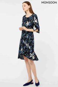 Monsoon Navy Bonita Print Frill Hem Dress