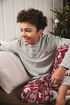 Fairisle Pattern Cosy Fleece Bottom Pyjamas (3-16yrs)