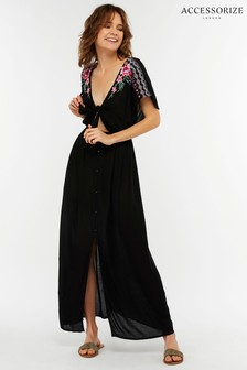 Accessorize Black Ophelia Embroidered Maxi Dress