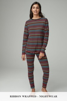 Rainbow Stripe Cotton Pyjamas With Ribbon Wrapping
