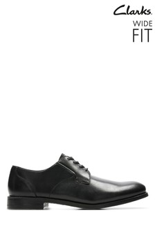 Clarks Wide Fit Black Edward Plain Shoe