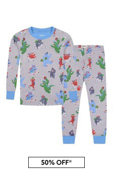 Boys Organic Cotton Grey Pyjamas Set