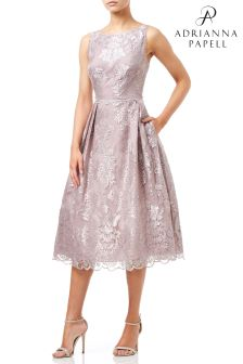 Adrianna Papell Pink Tea Embroidered Dress