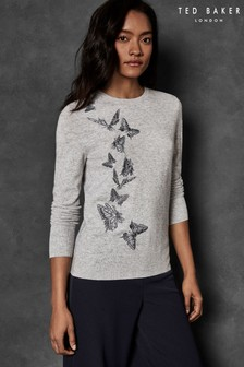 Ted Baker Grey Butterfly Embroidered Sweater