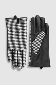 Leather Dogtooth Gloves