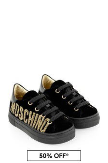 Girls Black Diamanté Logo Trainers