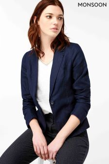 Monsoon Navy Cordelia Linen Jacket