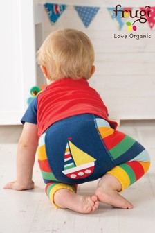 Frugi Organic Rainbow And Boat Knitted Legging