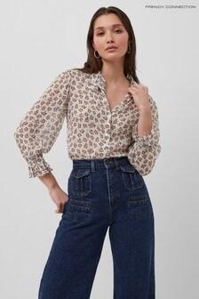 French Connection White Aura Ditsy Dobbie Shirt