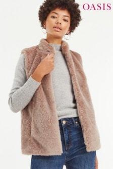 Oasis Dusky Pink Faux Fur Gilet