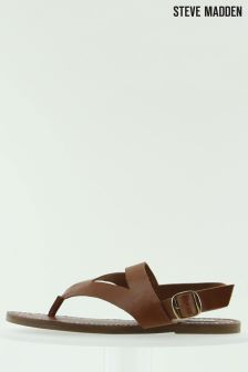 Steve Madden Tan Slice Toe Post Sandal
