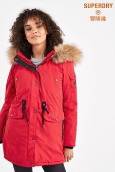 Superdry Red Parka Coat