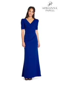 Adrianna Papell Blue Plus Elbow Sleeve Long Gown Dress