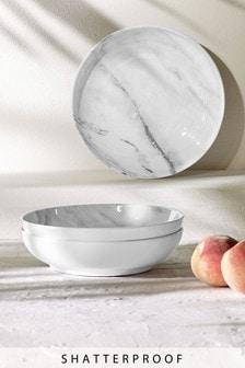 Set of 4 Marble Print Melamine Pasta Bowls