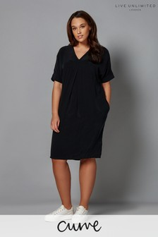 Live Unlimited Cupro Mandarin Collar Dress