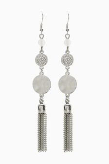 Pave Tassel Drop Earrings