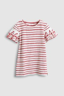 Stripe Broderie Sleeve Top (3-16yrs)