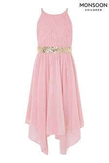 Monsoon Pleated Chiffon Hanky Hem Dress