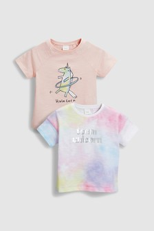 Unicorn Tie Dye T-Shirts Two Pack (3mths-6yrs)