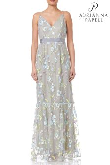 Adrianna Papell Green Vine Embroidery Dress