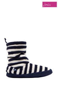 Joules Navy Stripe Homestead Fleece Slipper
