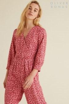 Oliver Bonas Pink Cherry Print Jumpsuit