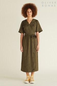 Oliver Bonas Jacquard-Kleid mit Palmenmuster, Grün