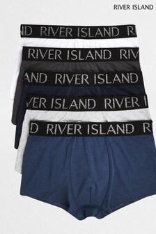 River Island Blue Metallic Hipster Underwear Five Pack