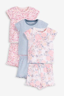 3 Pack Floral Short Pyjamas (9mths-12yrs)
