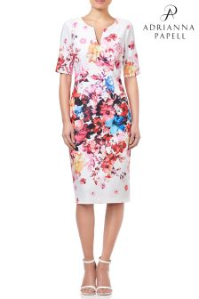 Adrianna Papell White Spring In Bloom Printed Sheath Dress