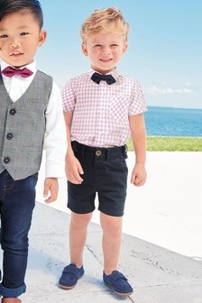Gingham Shirt, Navy Shorts And Bow Tie Set (3mths-6yrs)