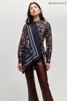 Warehouse Black Asymmetric Paisley Tie Shirt