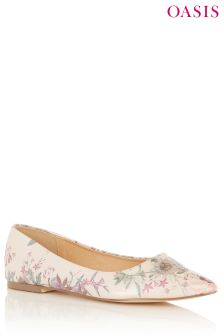 Oasis Camel Secret Garden Flat Shoe
