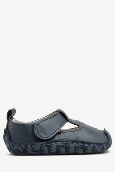 Leather T-Bar Pram Shoes (Younger)