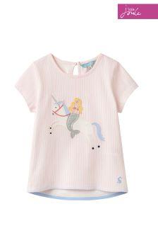 Joules Maggie T-Shirt aus Jersey mit Applikation, rosa