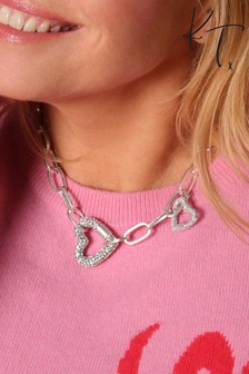 Kate Thornton Double Pave Heart Necklace