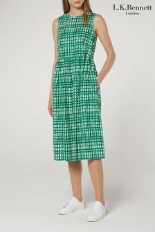 L.K.Bennett Green Violet Check Cotton Tea Dress