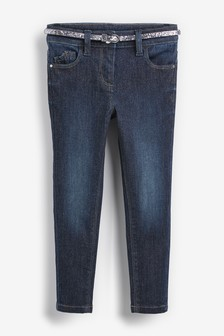 Блестящие зауженные джинсы с ремнем (3-16 лет)