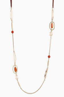 Gold Tone Stone And Bead Detail Rope Necklace