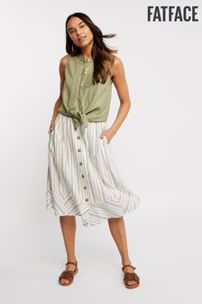 FatFace Natural Lena Stripe Skirt