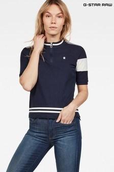 G-Star Blue Cergy Zip Slim Short Sleeve T-Shirt