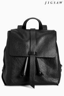 Jigsaw Black Blake Leather Backpack