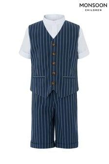 Monsoon Finn 3-teiliges Shorts-Set mit Streifen, Blau