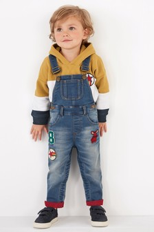 Jersey Denim Dungarees With Contrast Turn-Up (3mths-6yrs)