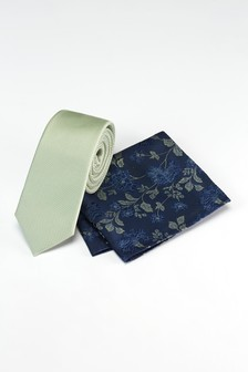 Tie With Navy Floral Pocket Square